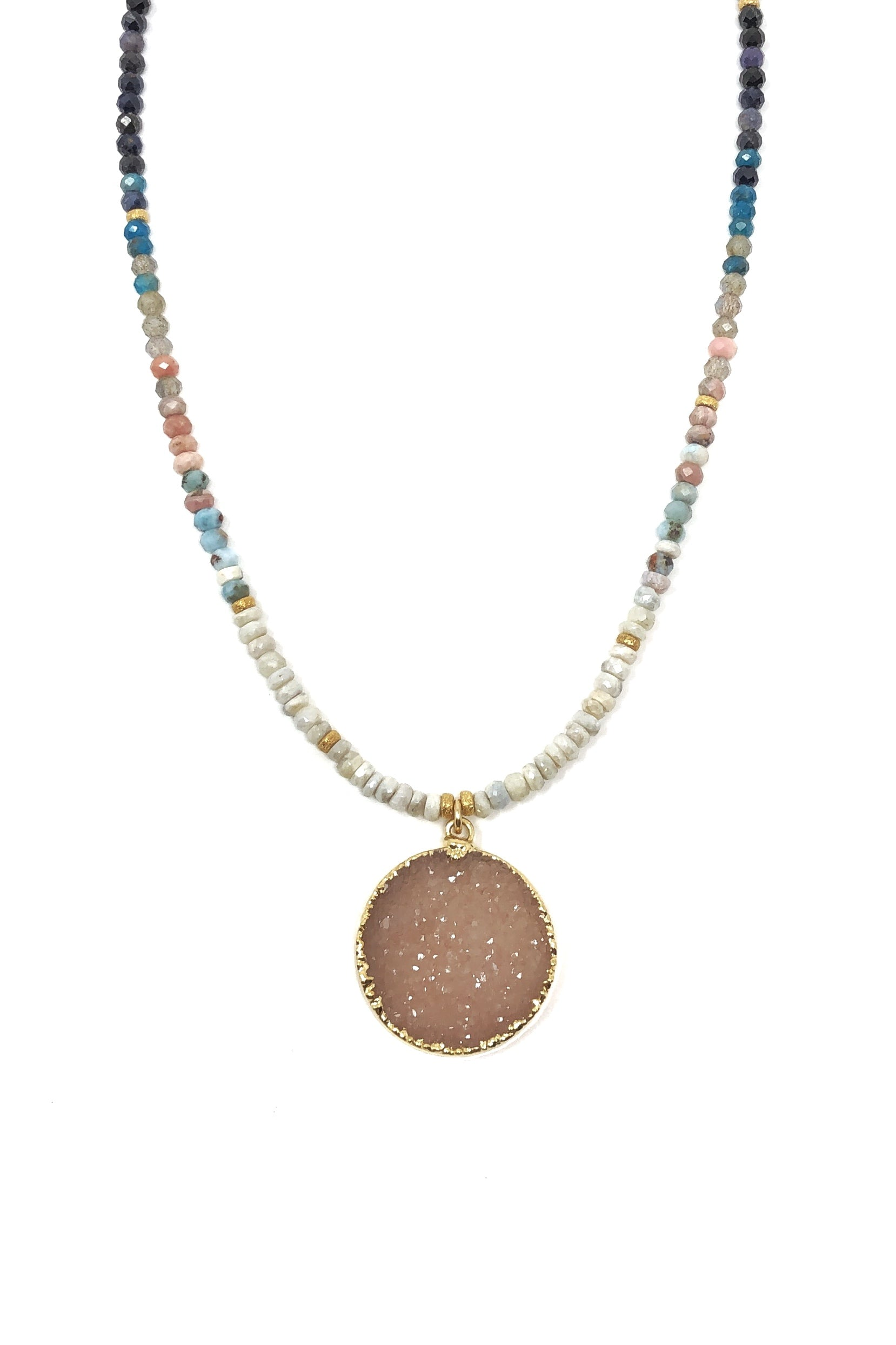 Multi-Color Gemstone and Druzy Necklace
