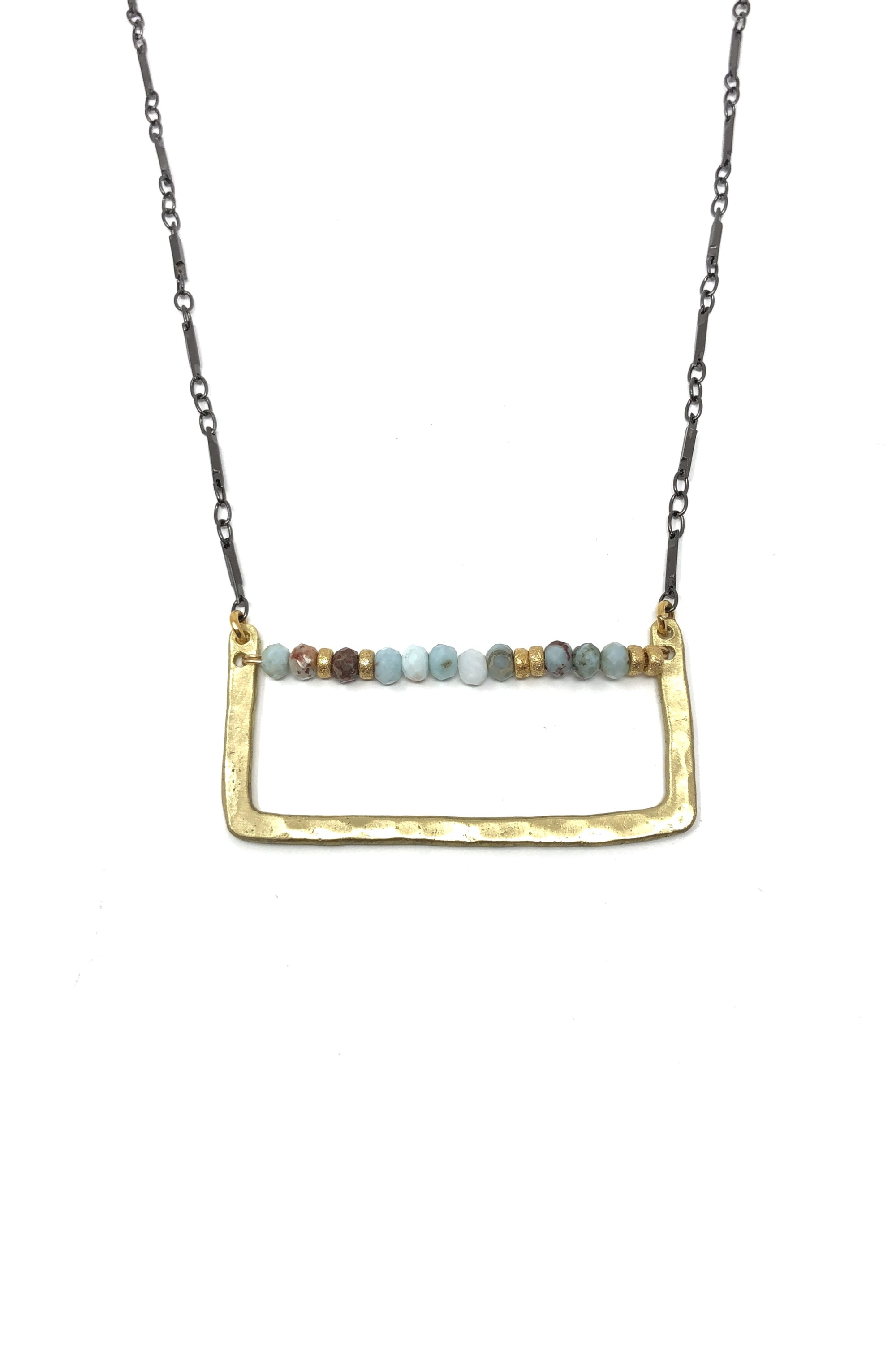 Hammered Gold and Larimar Necklace