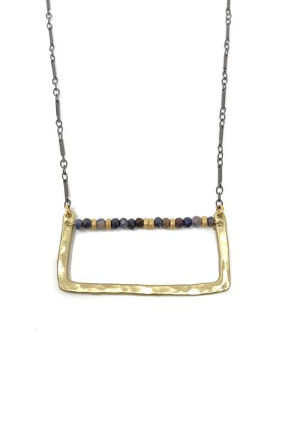 Hammered Gold and Sapphire Necklace