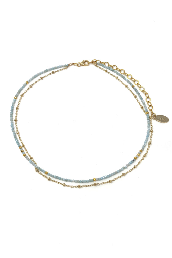 Larimar and Gold Chain Choker Necklace