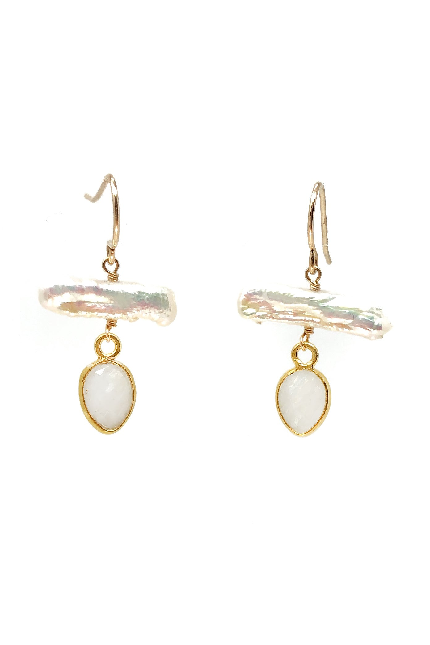 Biwa Pearl and Moonstone Petal Earrings