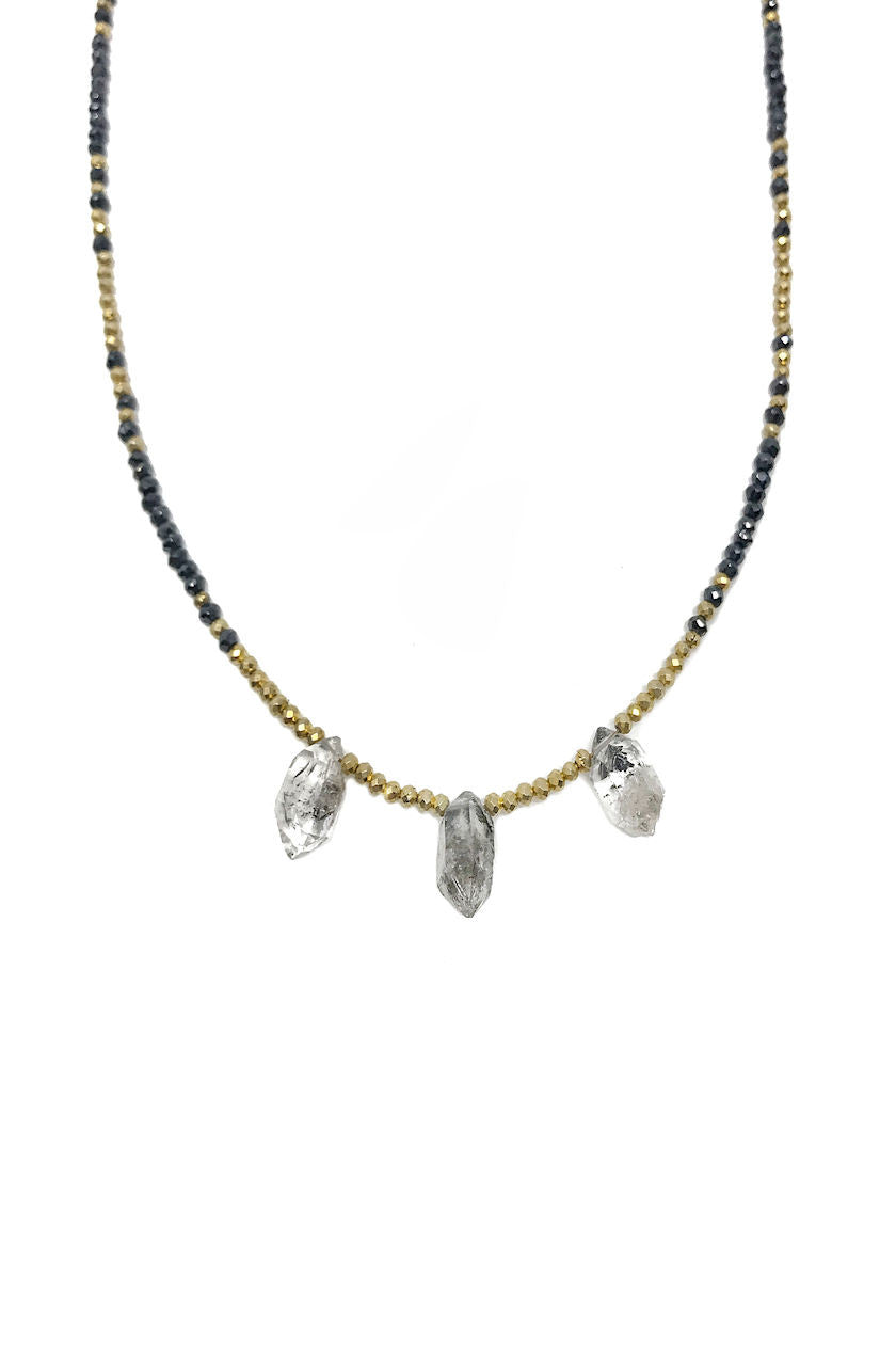 Black Spinel and Herkimer Diamond Necklace