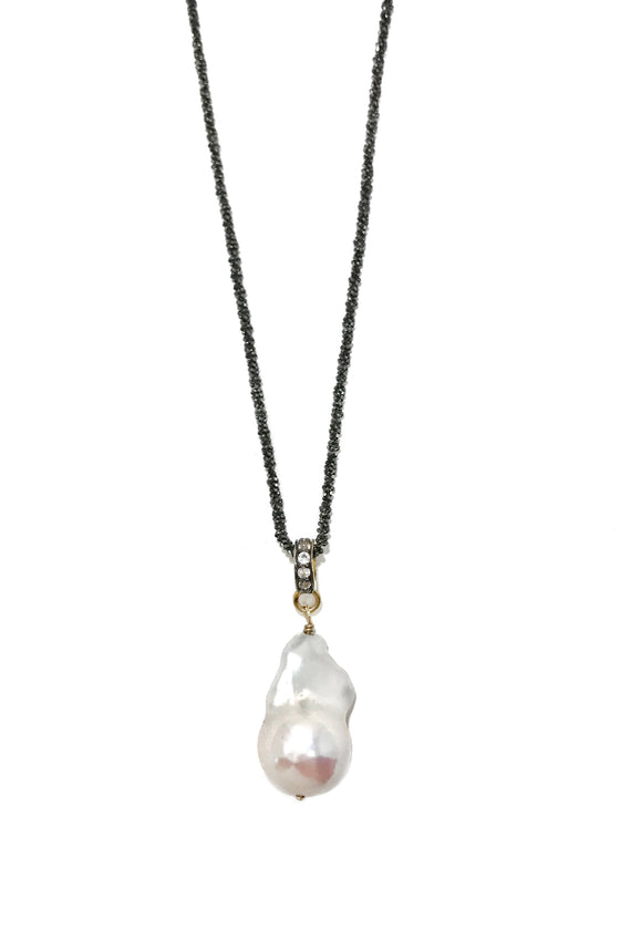 Baroque Pearl Necklace With White Topaz Pave Bail