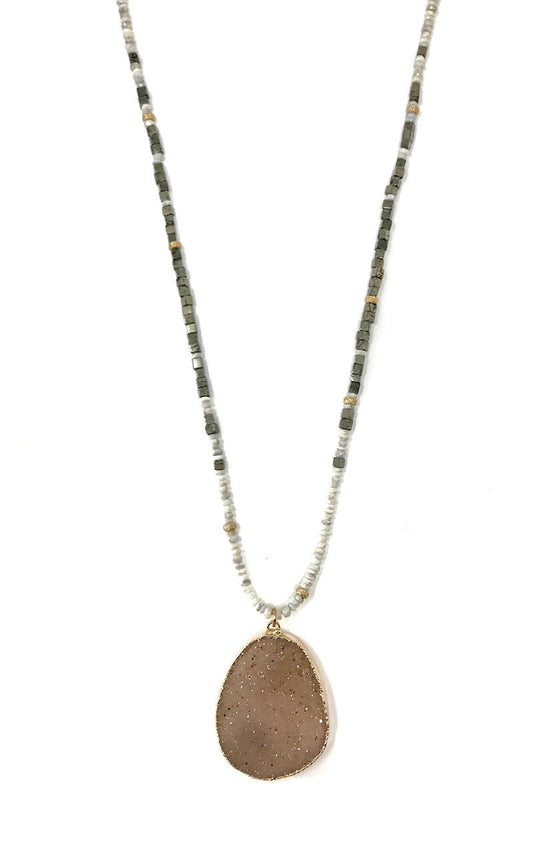 Silverite and Pyrite Necklace With Free Form Druzy