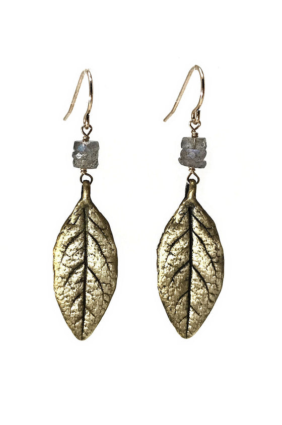Leaf and Labradorite Earrings