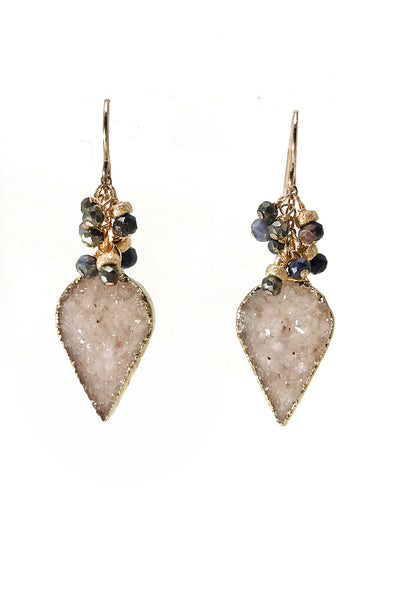Sapphire and Druzy Cluster Earrings