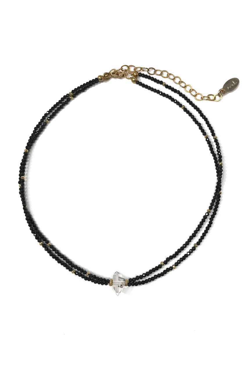 Black Spinel and Herkimer Diamond Choker Necklace