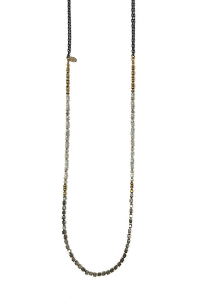 Silverite and Pyrite Layering Necklace