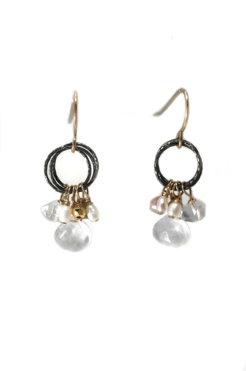 Enliven Moonstone Cluster Earrings