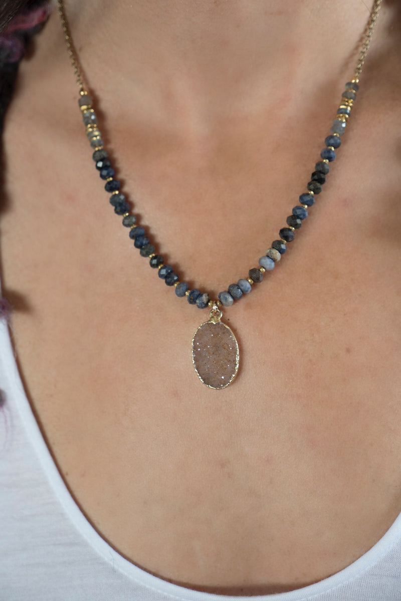 Sapphire and Druzy Necklace