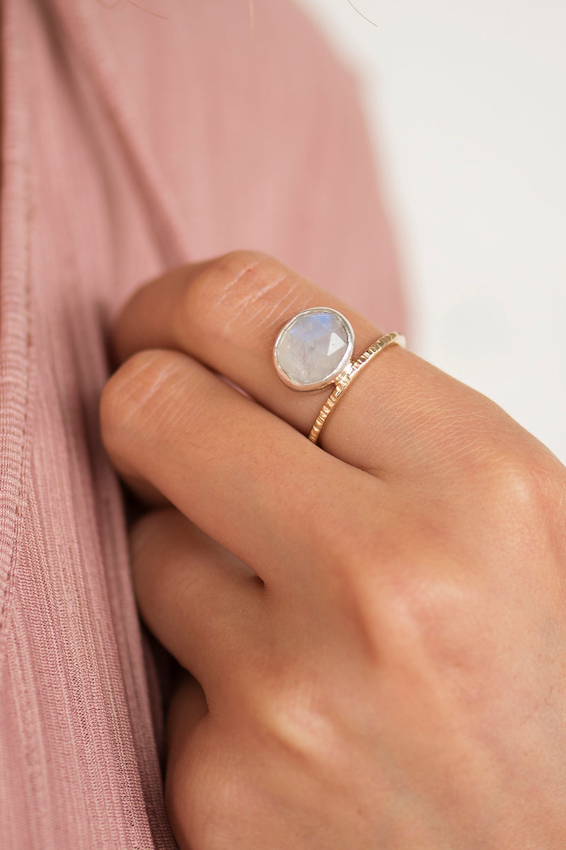 Asymmetric Moonstone Ring