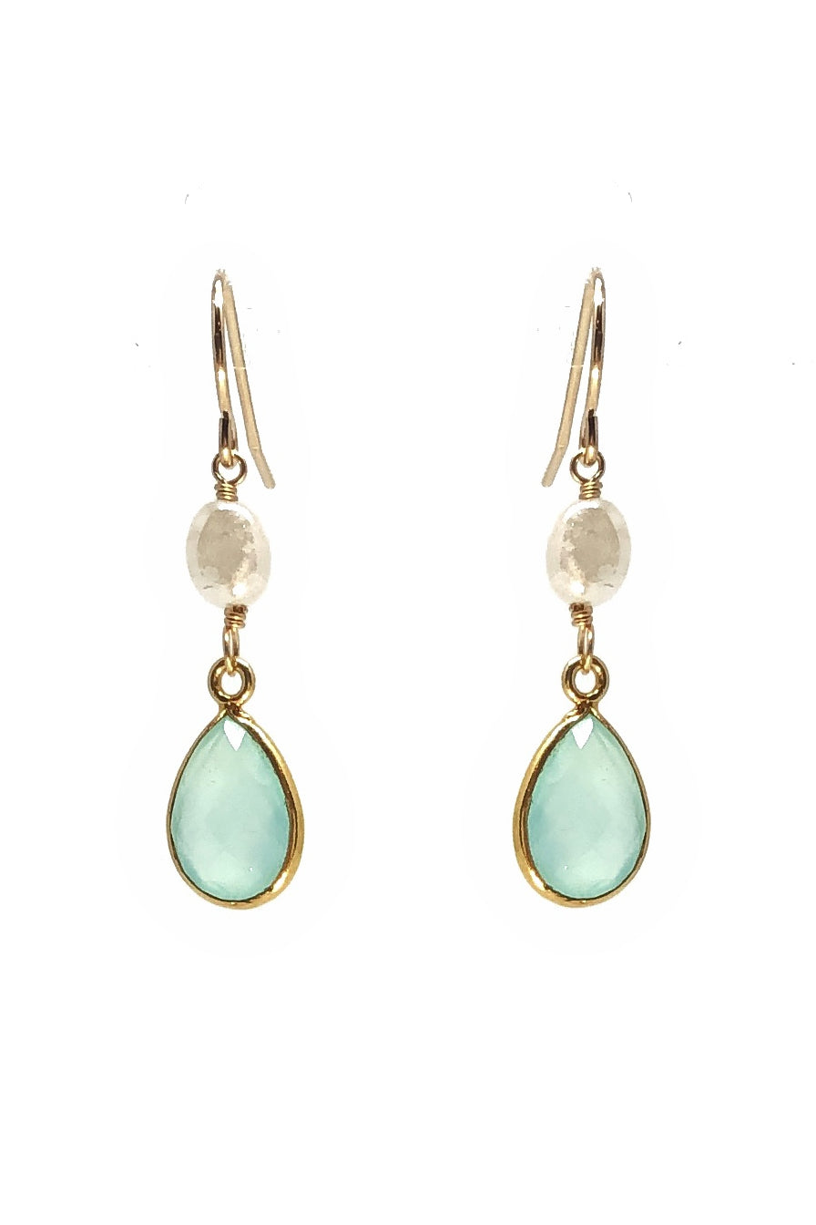Aqua Chalcedony and Silverite Earrings