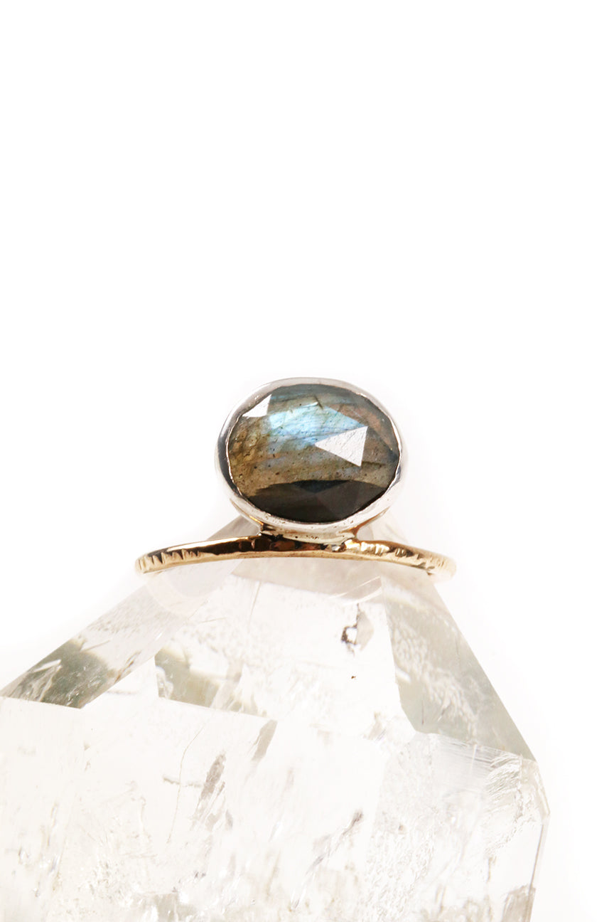 Asymmetric Labradorite Ring