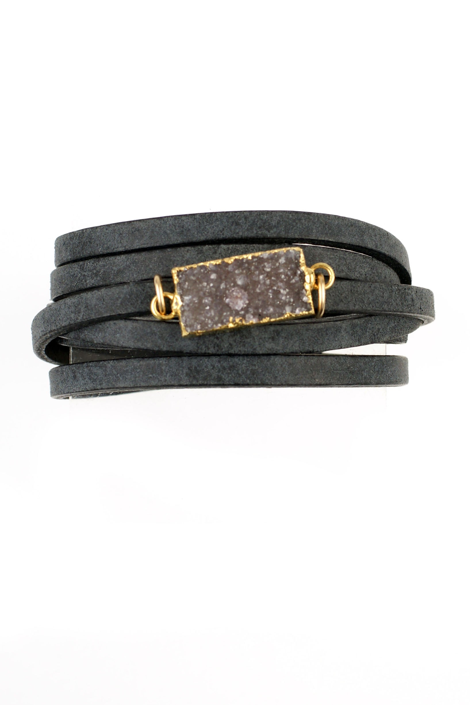 Black Leather Druzy Wrap Bracelet