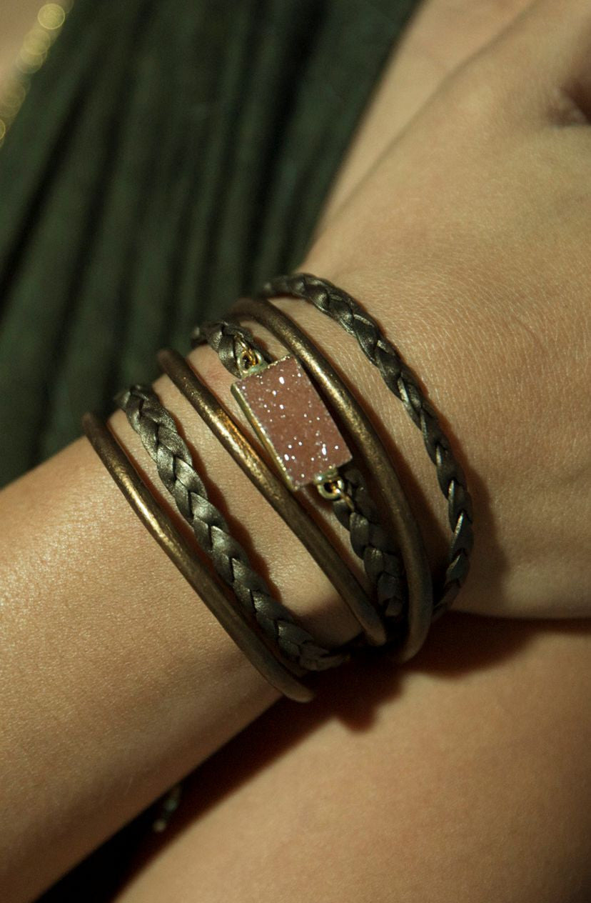 Druzy & Leather Wrap Bracelet
