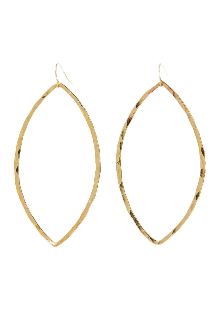 Hammered Gold Marquis Earrings