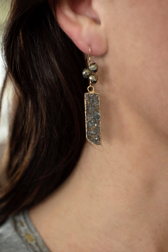 Pyrite Trio and Druzy Earrings