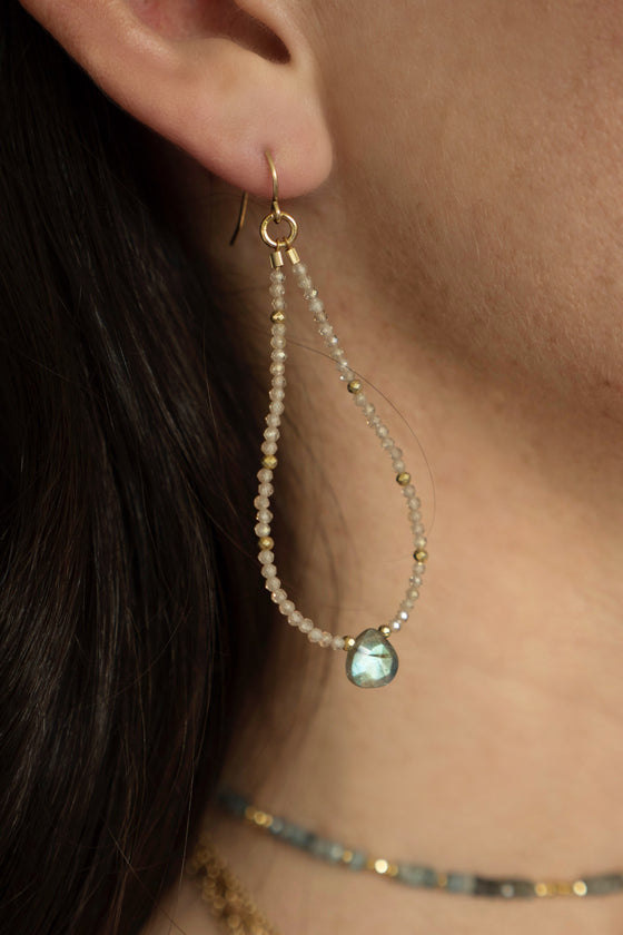 Zircon and Labradorite Beaded Hoops