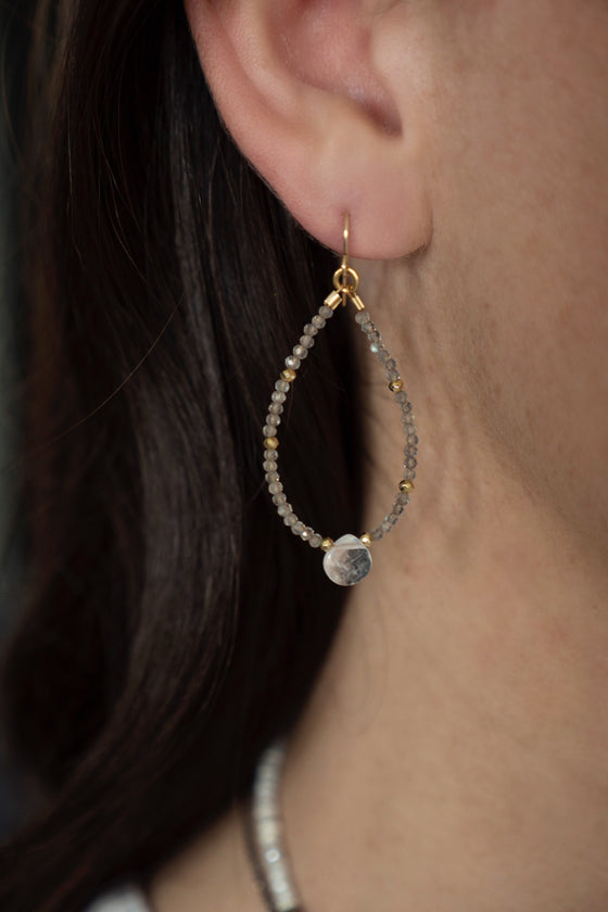 Petite Labradorite and Moonstone Beaded Hoops