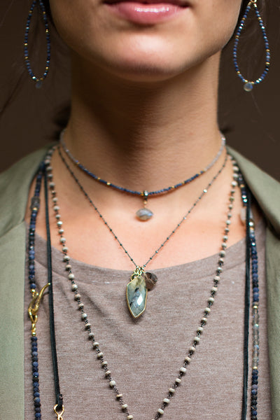 Labradorite Palm Charm Necklace