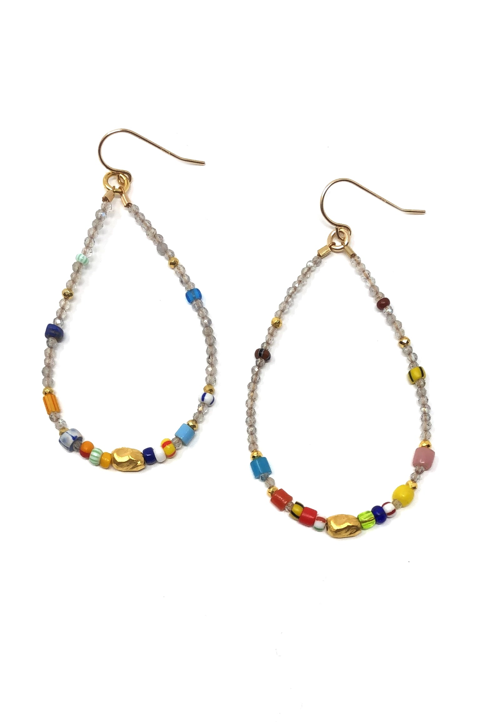Labradorite and Multi-Color Hoop Earrings