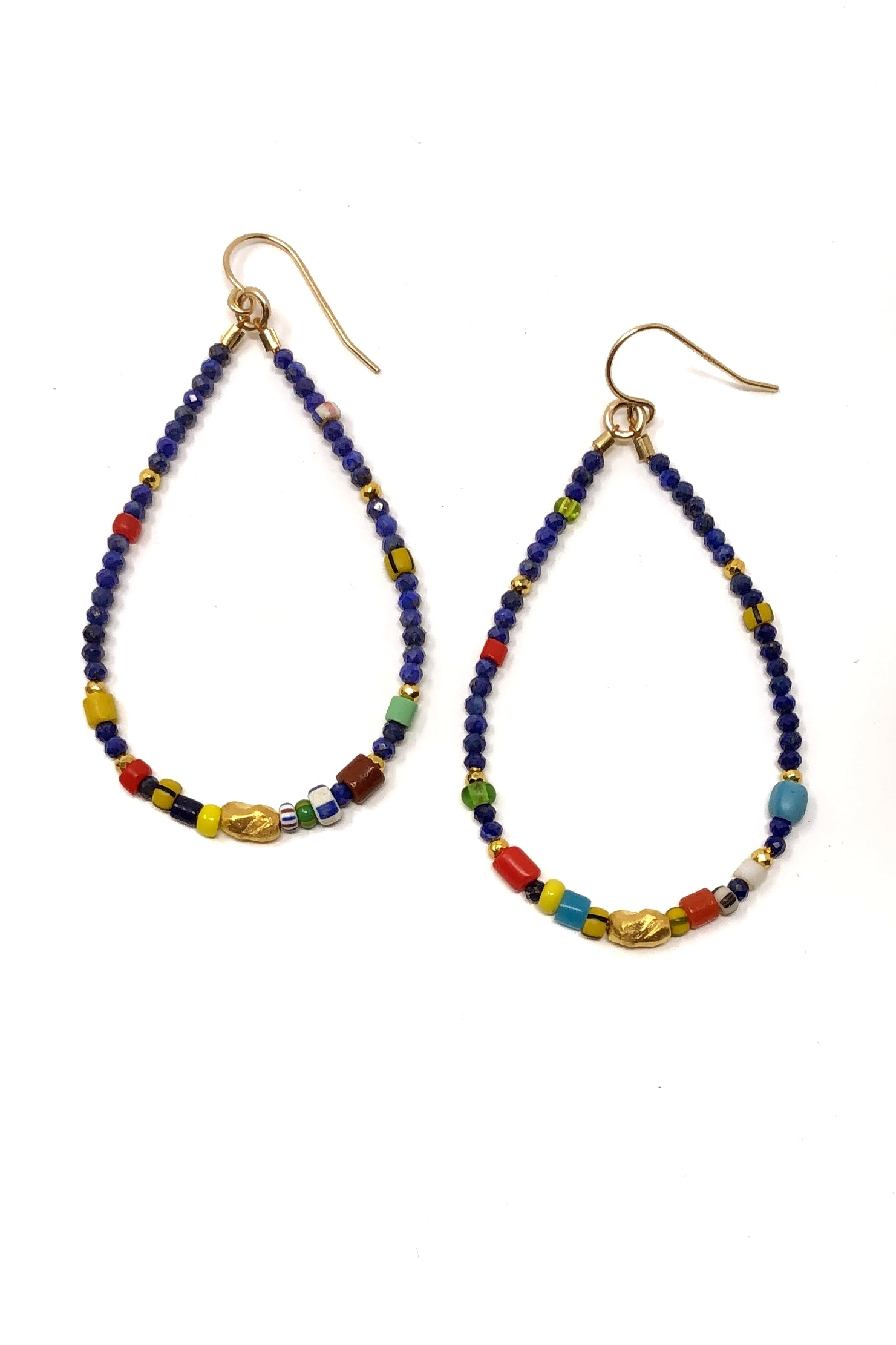 Lapis and Multi-Color Hoop Earrings