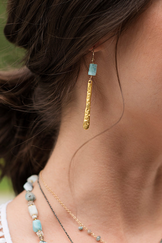 Larimar and Gold Hammered Branch Earrings