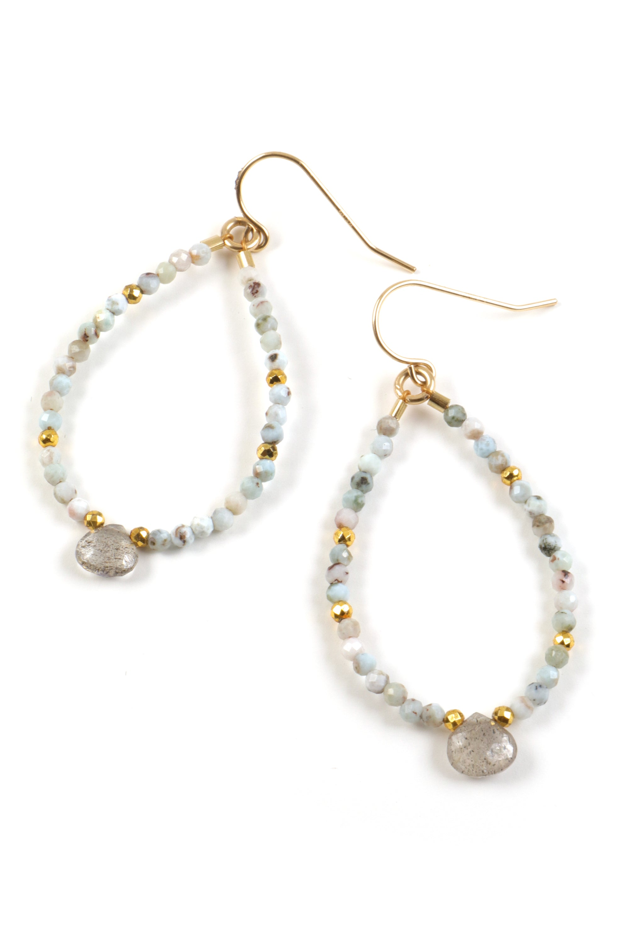 Petite Larimar and Labradorite Beaded Hoops