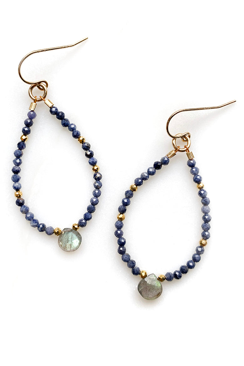 Petite Sapphire and Labradorite Earrings