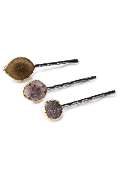 Druzy Hair Pin in Gunmetal