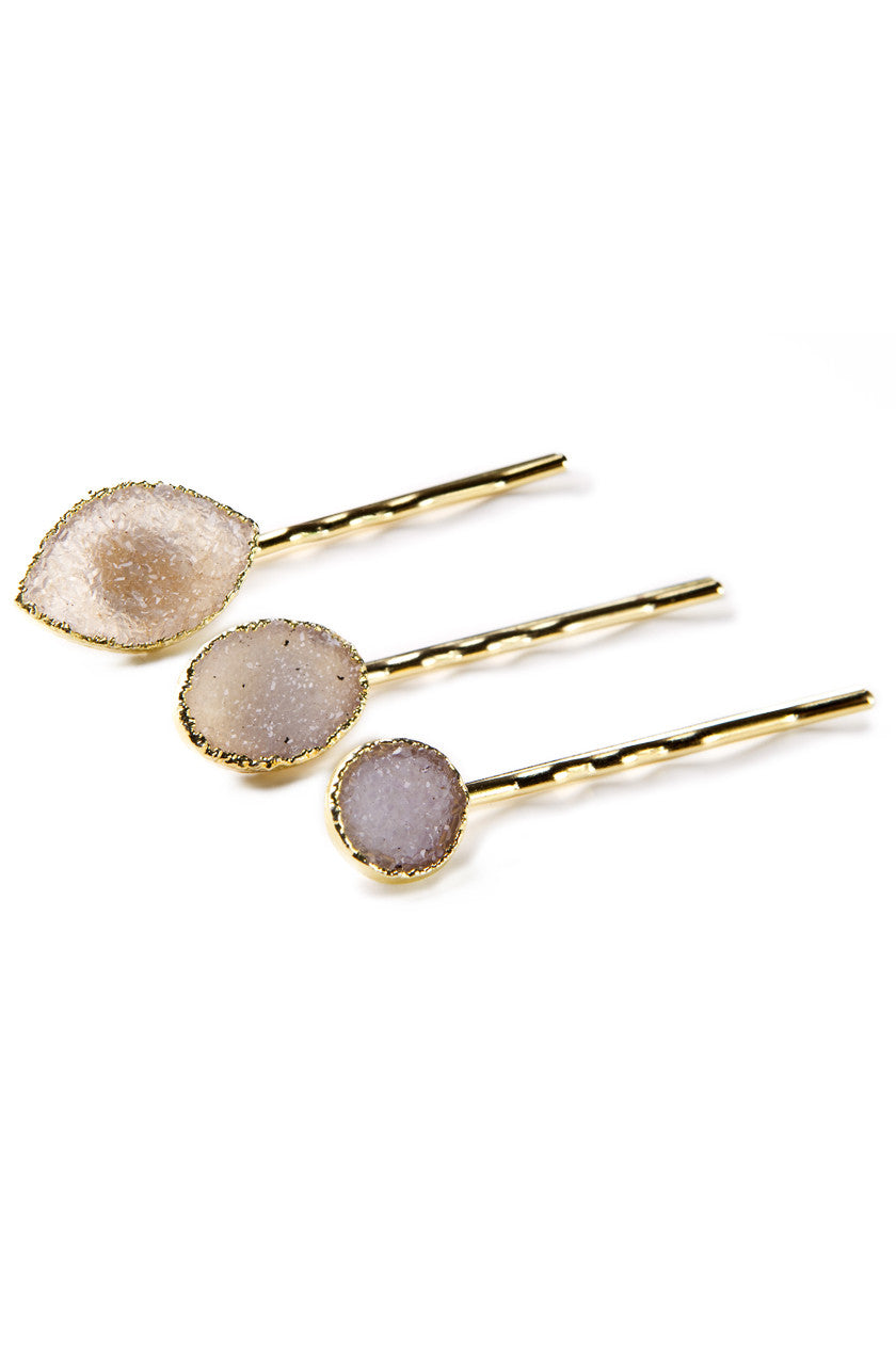 Druzy Hair Pin in Gold