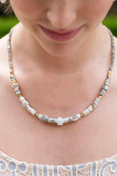 Opal, Moonstone and Labradorite Necklace