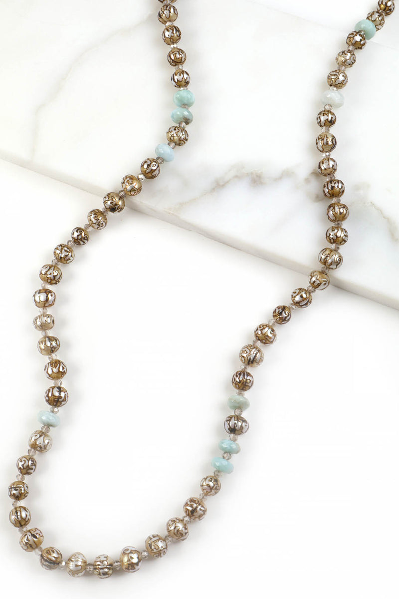 Tibetan Mantra Pearl Larimar Necklace