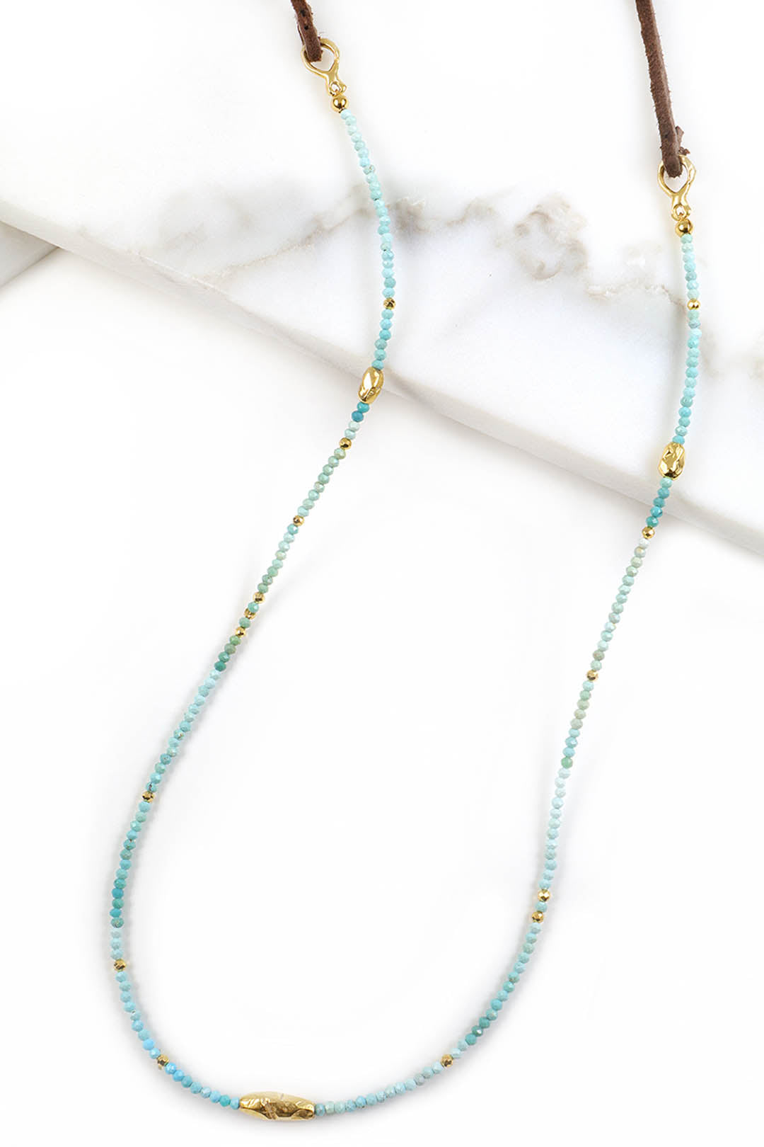 Turquoise and Leather Necklace