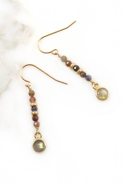 Ruby Sapphire and Labradorite Earrings