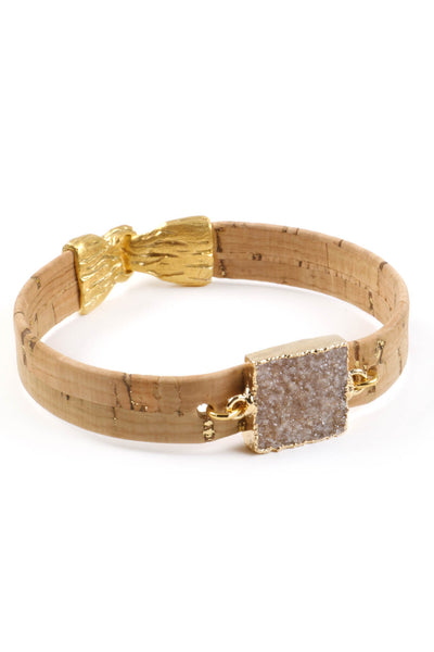 Natural Cork Square Druzy Bracelet
