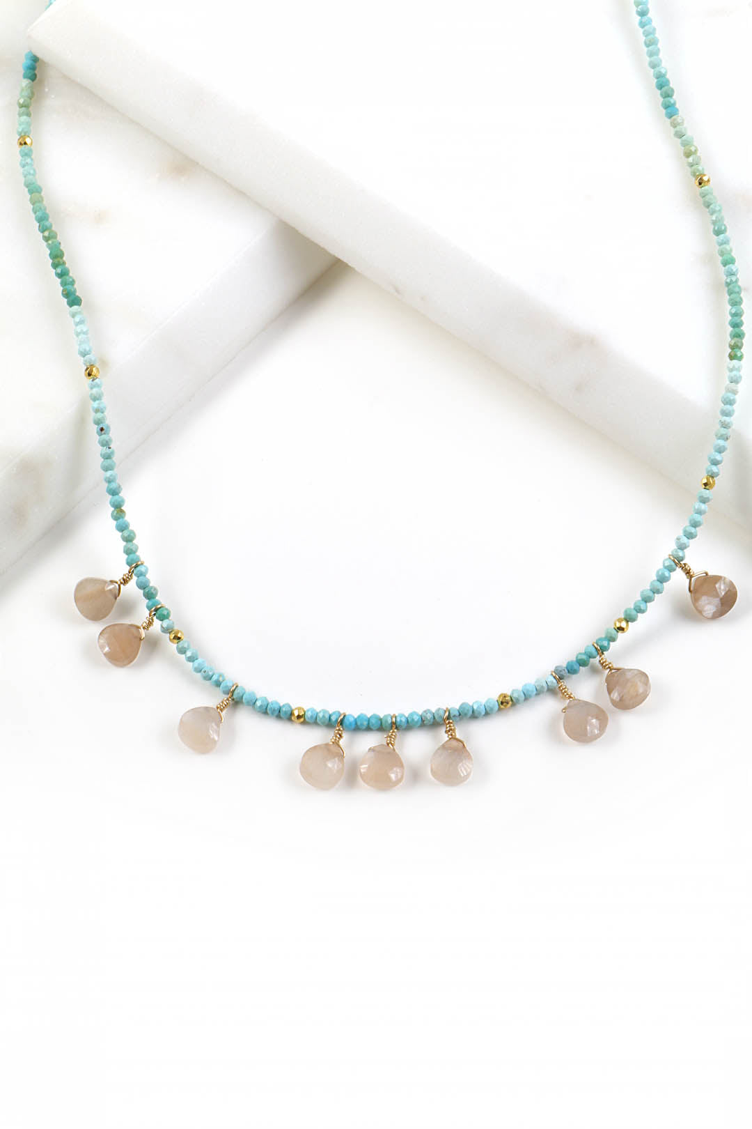 Turquoise Peach Moonstone Necklace