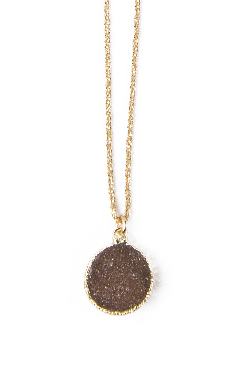 Petite Round Druzy & Gold Necklace