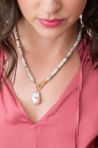 Baroque Pearl and Boulder Opal Necklace