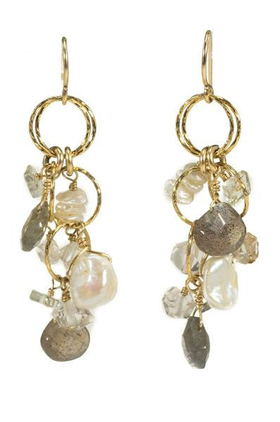 Pearl and Labradorite Cluster Earrings