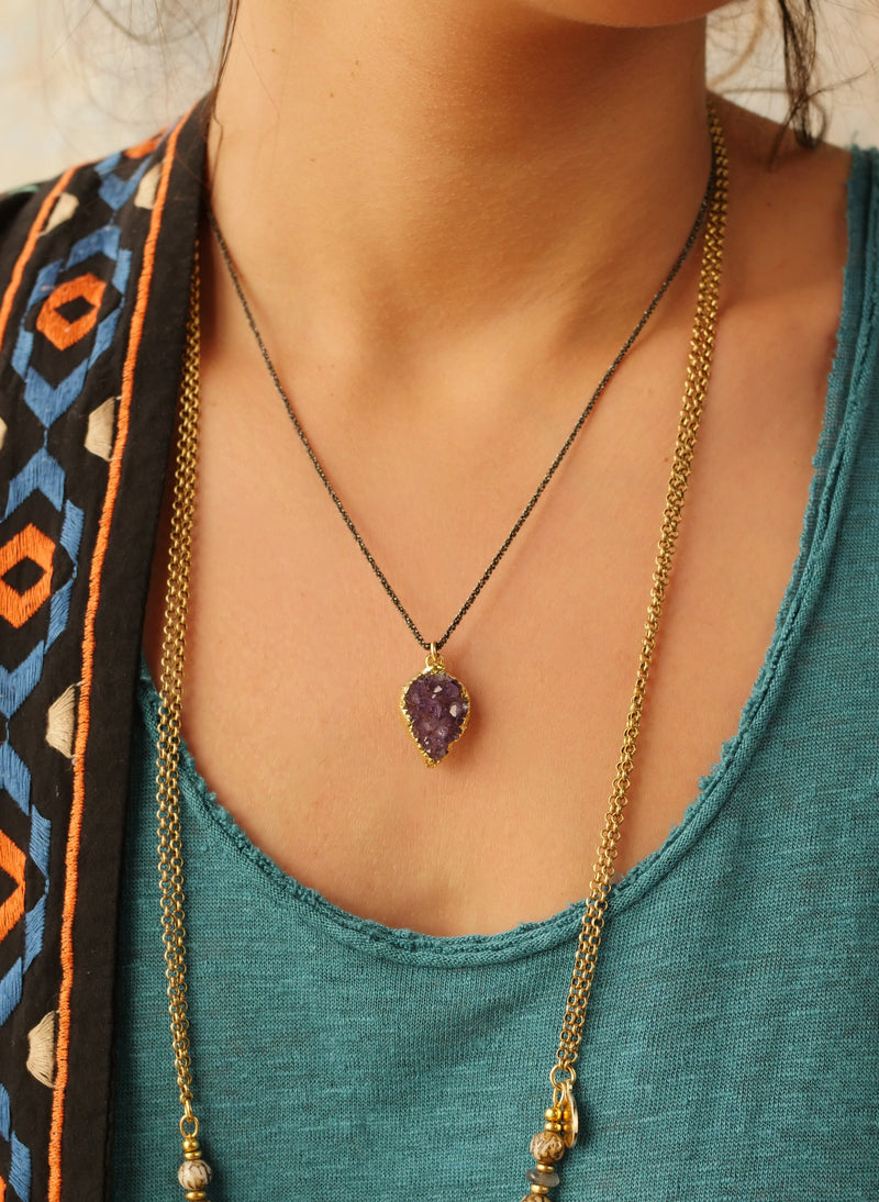 Petal Druzy and Gunmetal Necklace