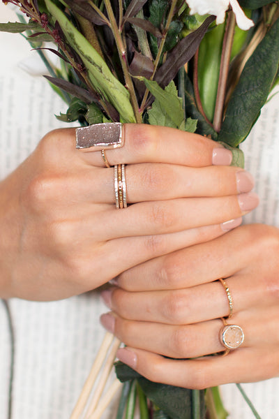 Rectangle Druzy Ring