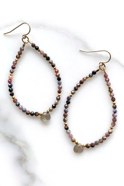 Ruby Sapphire and Labradorite Beaded Hoops