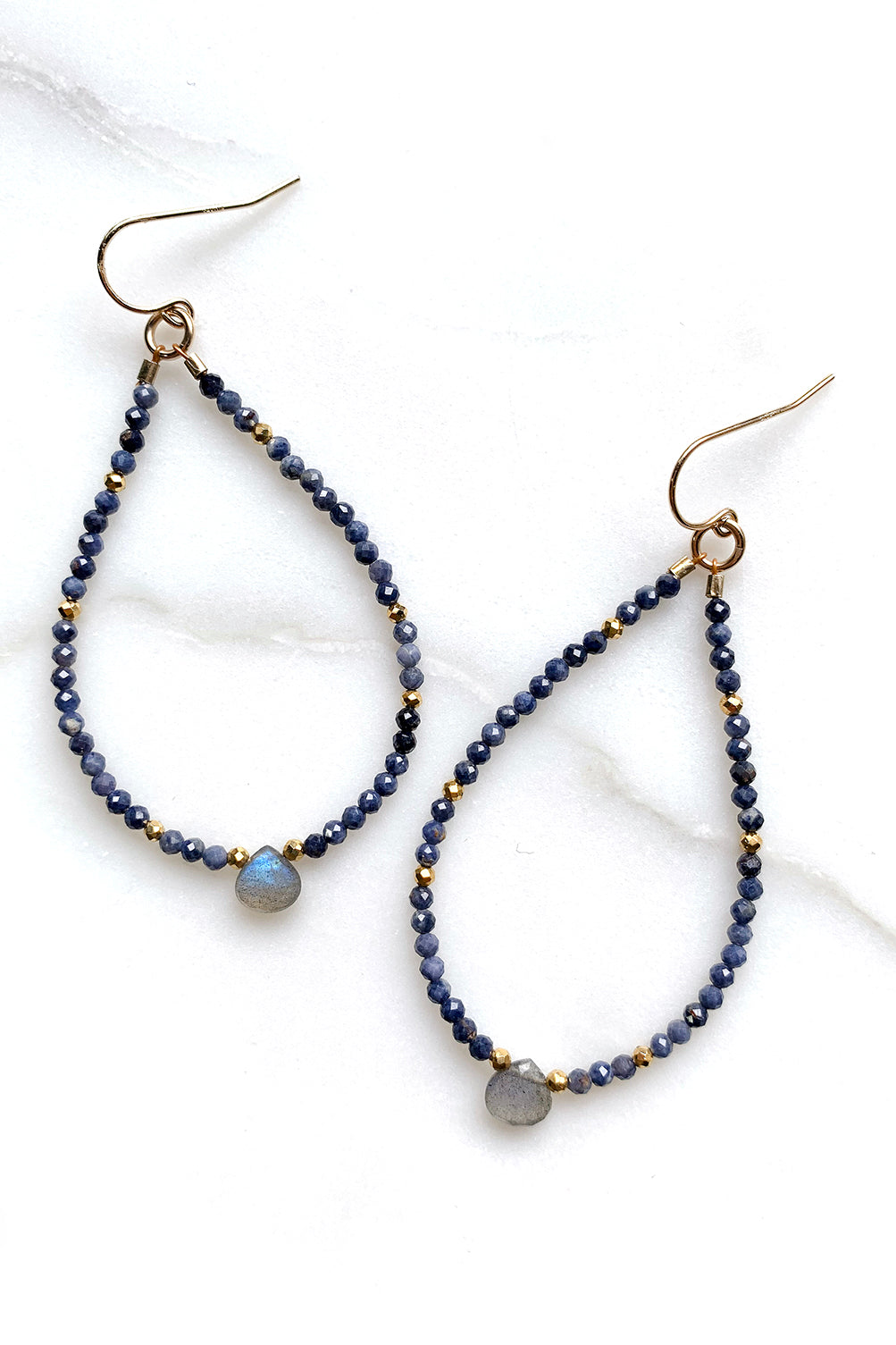 Sapphire and Labradorite Hoop Earrings