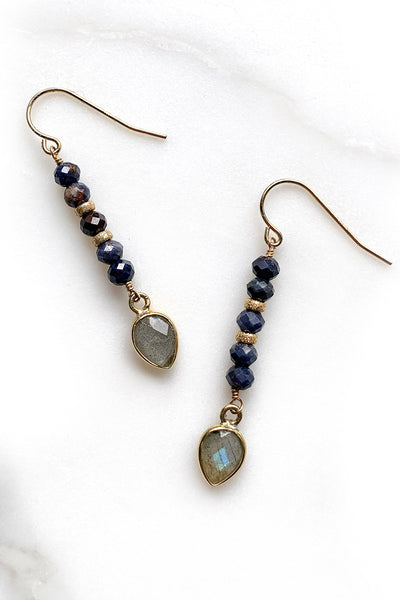 Sapphire and Labradorite Earrings
