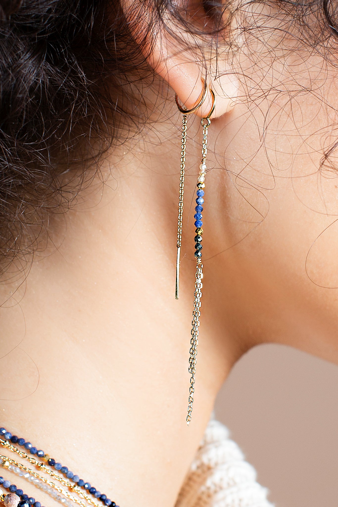 Sapphire Threader Earrings