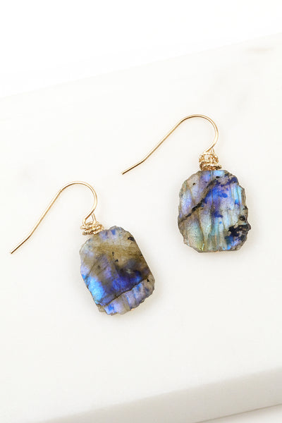 Labradorite Raw Slice Earrings