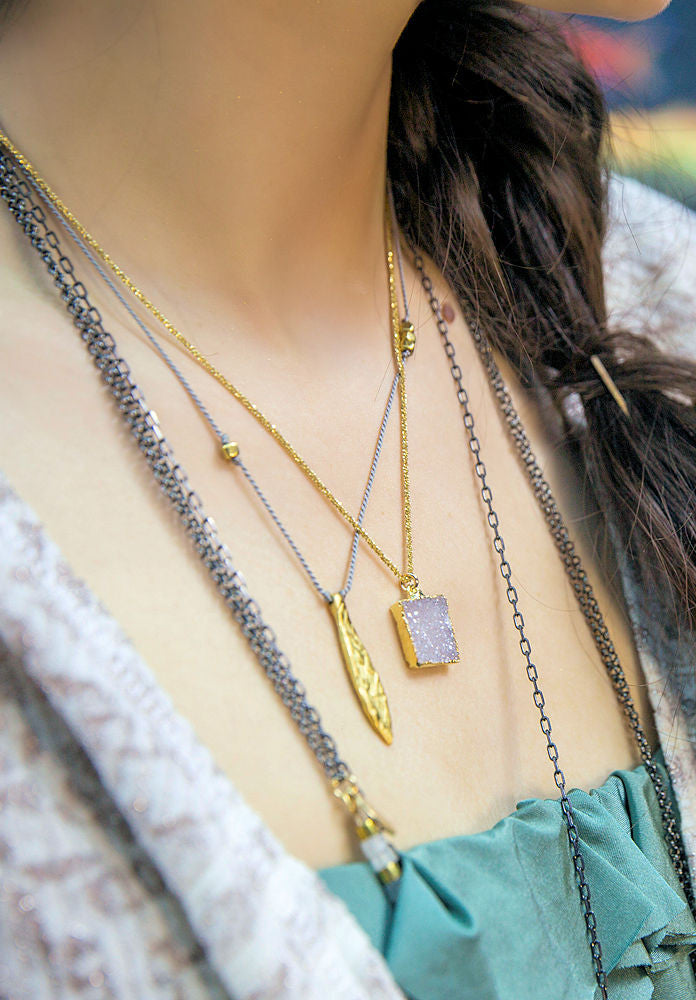 Petite Square Druzy & Gold Necklace
