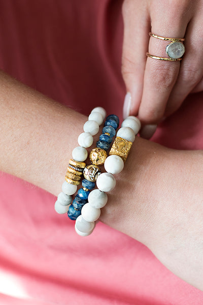 White Agate Gold Rings Bracelet