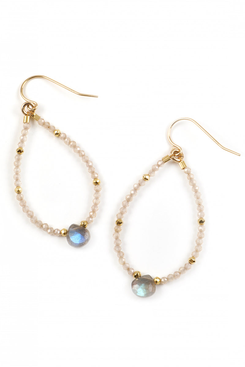 Petite Zircon and Labradorite Beaded Hoops